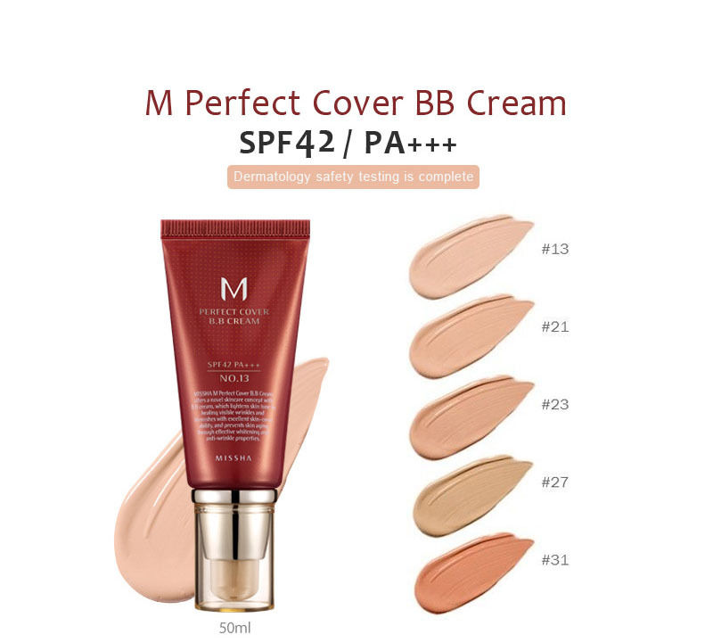 MISSHA M perfect cover BB cream colors